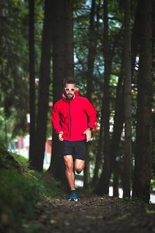 Biegacz w lesie na ścieżce dydaktycznej