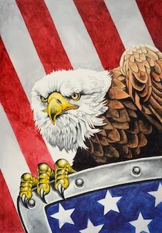 Bielik amerykański z tarczą na fladze stanów zjednoczonych ameryki w tle akwarela ilustracja