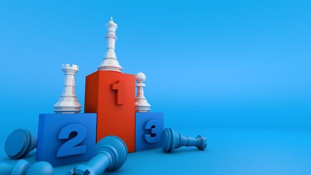 Bierka szachowa na podium nagrody, biznes konkursu strategii zwycięzcy, renderowanie 3d
