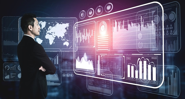 Big data technology for business finance concept.