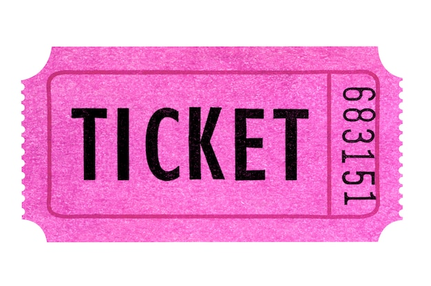 Bilet różowy na białym tle.