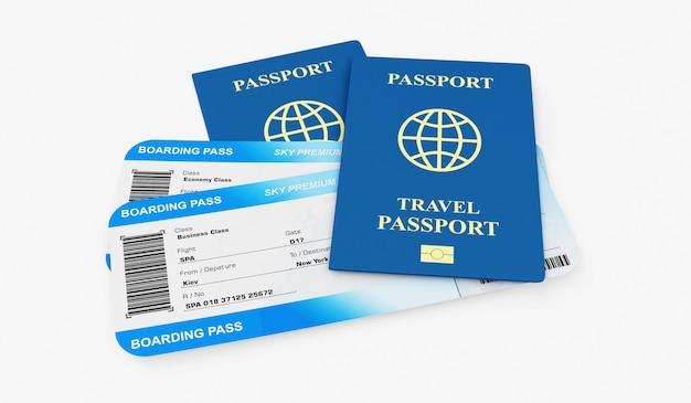 Bilety lotnicze z kartą pokładową z dokumentem paszportowym na białym tle