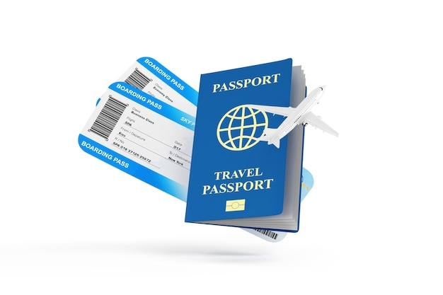 Bilety lotnicze z kartą pokładową z nowoczesnym samolotem pasażerskim i dokumentem paszportowym na białym tle