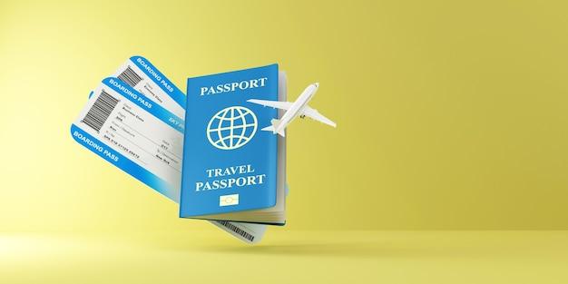 Bilety lotnicze z kartą pokładową z nowoczesnym samolotem pasażerskim i dokumentem paszportowym