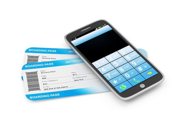 Bilety lotnicze z kartą pokładową z nowoczesnym smartfonem