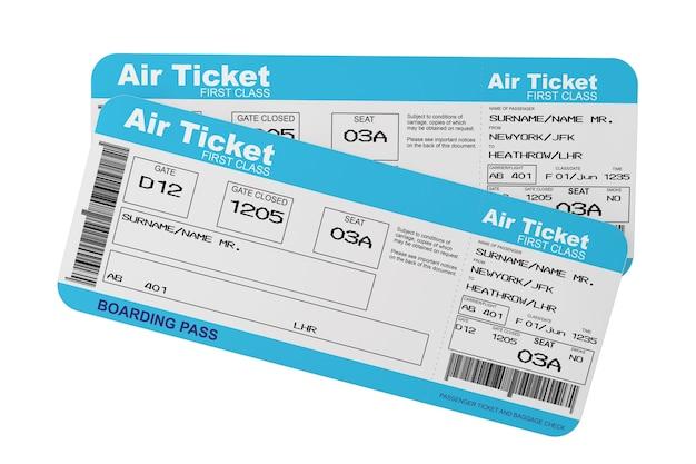 Bilety na pokład linii lotniczej na białym tle