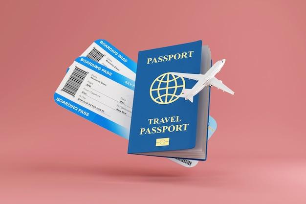 Bilety na pokład samolotu z nowoczesnym samolotem pasażerskim i dokumentem paszportowym na różowym tle studyjnym