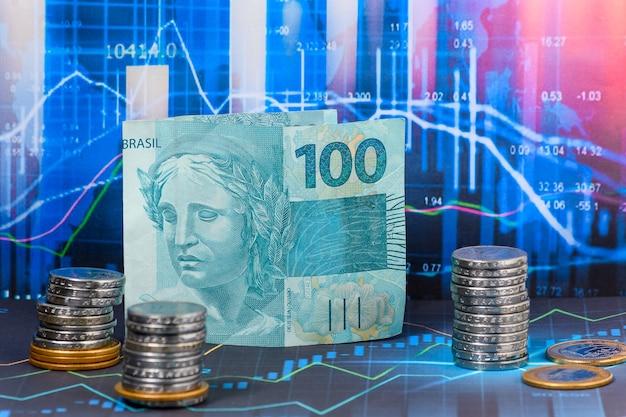 Bill za 100 reali brazylijskich pieniądze na grafice rynku finansowego
