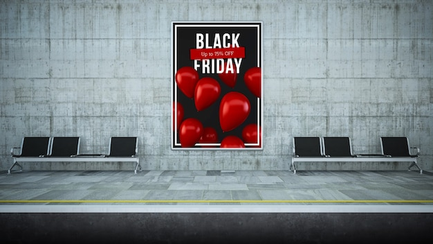 Billboard plakat na stacji metra renderowania 3d czarny piątek