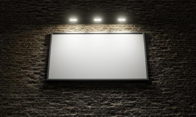 Billboard reklamowy w białym ścianie z oświetleniami reklamowymi