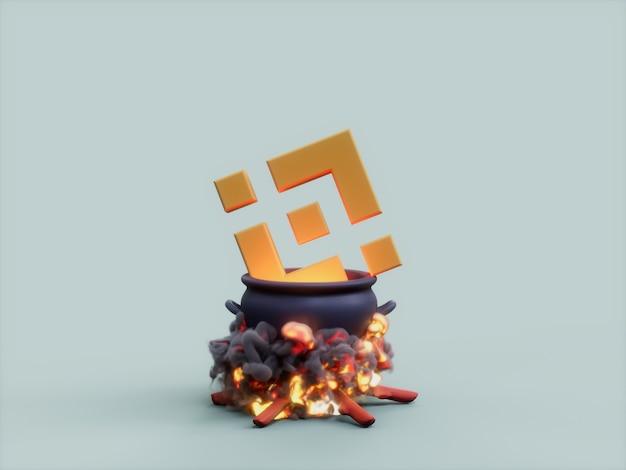 Binance cauldron fire cook crypto currency ilustracja 3d render