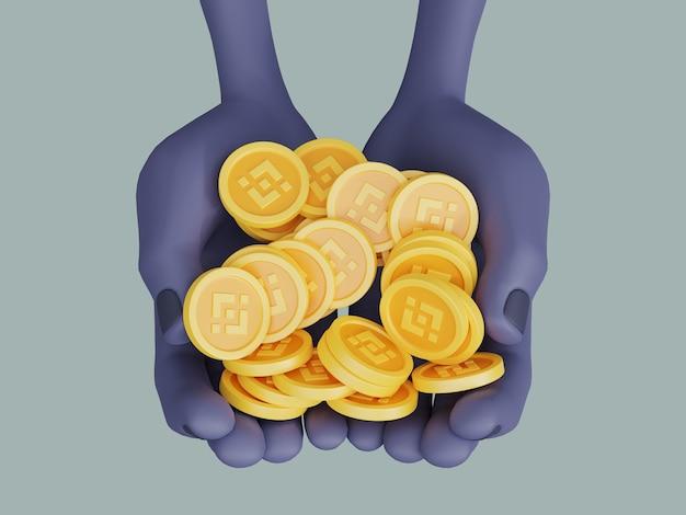 Binance coin crypto currency wspierający prezentację ilustracji 3d renderowania dłoni