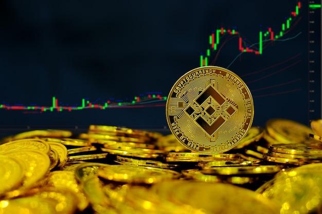 Binance moneta kryptowaluta na stos złotych monet na tle wykresu handlu komputerowego