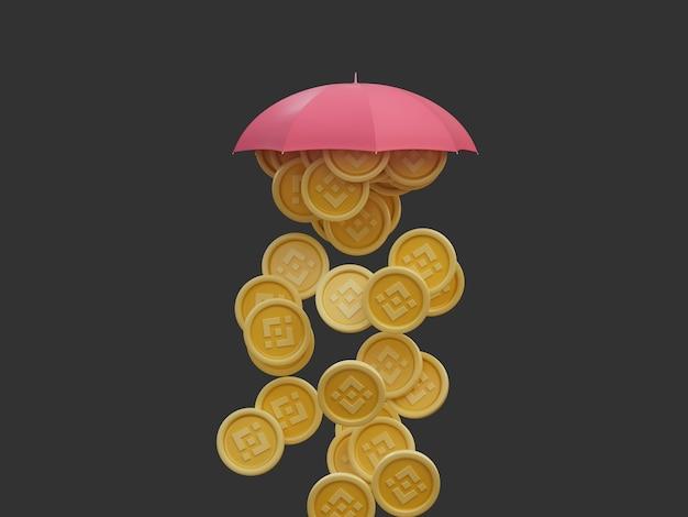 Binance moneta pada krypto pod parasolem obfite bogactwo izolowane renderowanie 3d illusration
