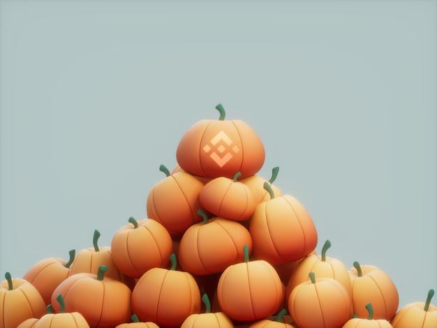Binance rzeźbiony stos dyni stos kryptowaluty ilustracja 3d render jasne oświetlenie