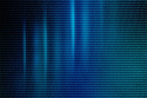 Binarny kod komputerowy jako tło. abstrakcyjne tło z neonowym światłem w postaci kodu binarnego na ekranie monitora