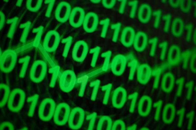 Binarny monitor języka komputera cyfry zielony