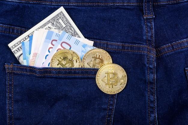 Bitcoin i dolar, kieszeń
