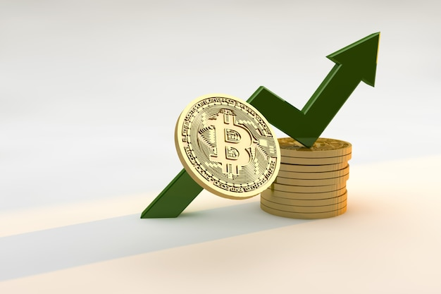 Bitcoin i wykres strzałka w górę oraz koncepcja finansów i inwestycji. renderowanie 3d