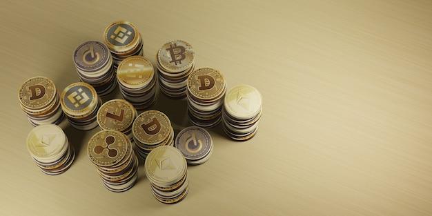 Bitcoin kryptowaluta cyfrowa waluta ilustracja 3d