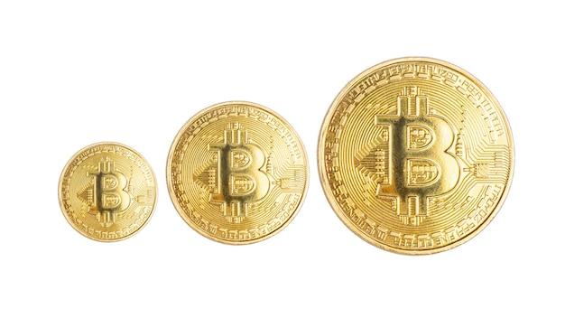 Bitcoin kryptowaluta metalowa moneta na białym tle płatność płatność online za pomocą cyfrowych pieniędzy