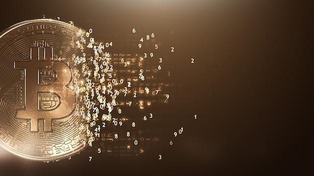 Bitcoin na ciemnej ścianie
