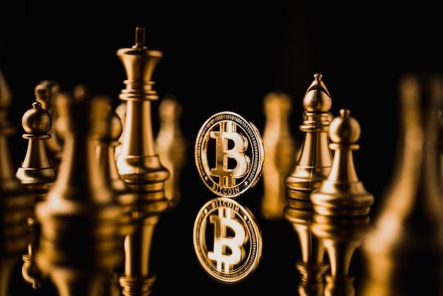 Bitcoin na ciemnym odbiciu podłogi