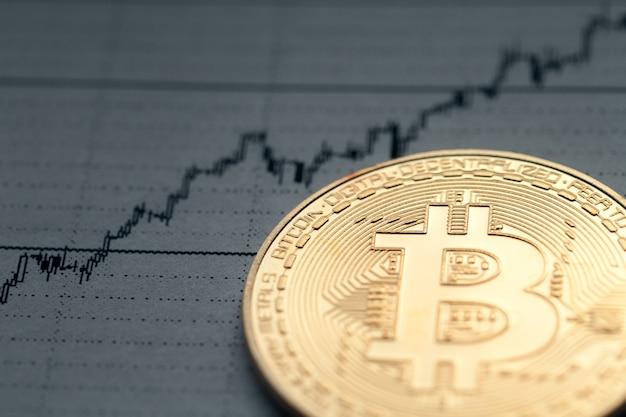 Bitcoin na tle rosnącego wykresu