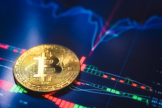 Bitcoin. waluta kryptowalut bitcoin, btc, bit coin. złote monety bitcoin na wykresie. technologia blockchain, koncepcja wydobywania bitcoin