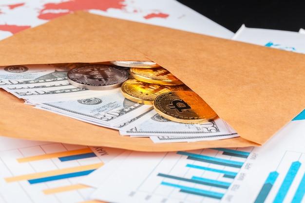 Bitcoin, wykres i dolar amerykański. handel finansami