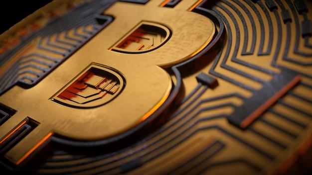 Bitcoin złota moneta i nieostre tło wykresu koncepcja wirtualnej kryptowaluty 3d