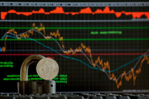 Bitcoin złota moneta i niewyraźne tło wykresu. koncepcja wirtualnej kryptowaluty. bitcoins na koncepcji kryptowaluty wykresu drabinkowego. waluta bitcoin z koncepcją blockchain.
