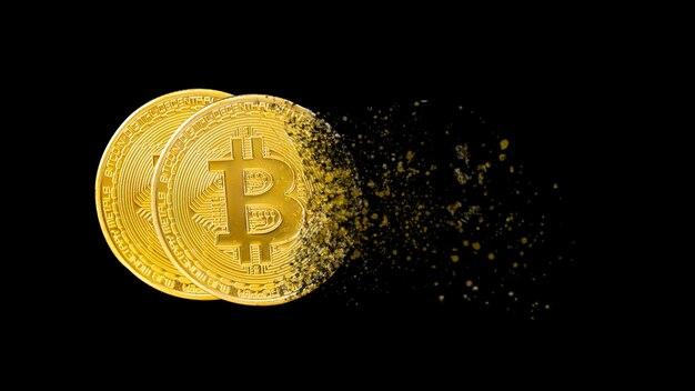 Bitcoin znika konceptualne renderowanie 3d związane z upadkiem kryptowalut