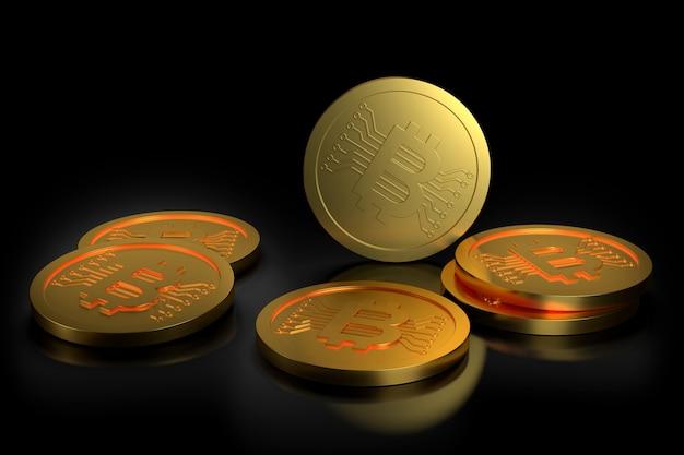Bitcoiny na czarnym tle