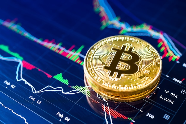 Bitcoiny na koncepcji kryptowaluty wykresu drabinkowego.