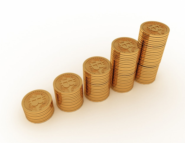 Bitcoiny z wykresem monet. 3d renderowana ilustracja