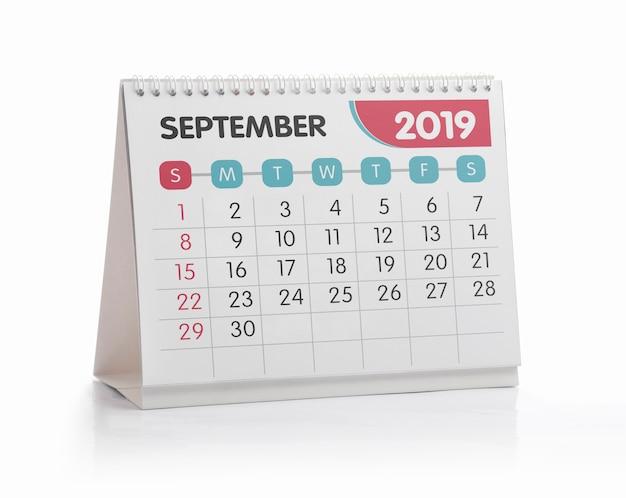 Biurem września biały kalendarz 2019 na białym tle