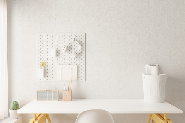 Biurko biurowe w domu obszar roboczy dostaw na biurowym miejscu pracy. renderowane 3d.