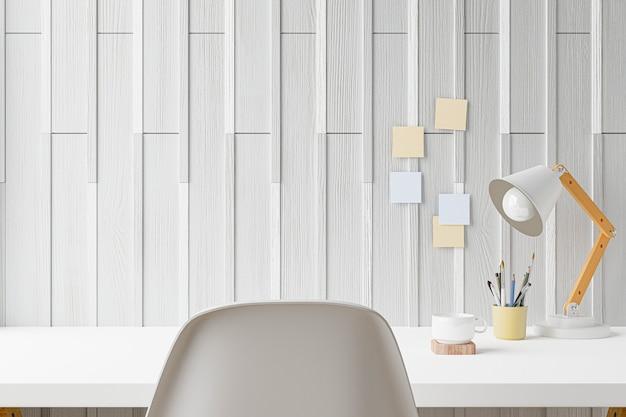 Biurko biurowe w domu obszaru roboczego na miejscu pracy w biurze. renderowanie 3d.