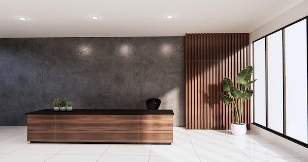 Biurko sceny loft stojące w biurze. renderowanie 3d