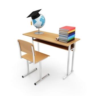 Biurko szkolne z atrybutami szkoły