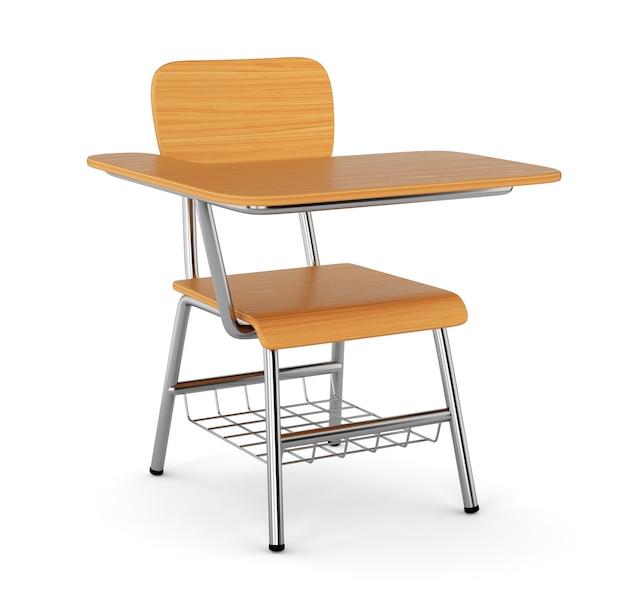 Biurko szkolne z krzesłem na białym tle