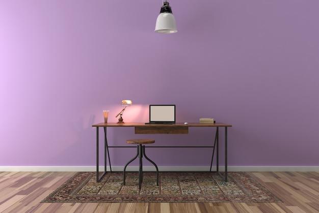 Biurko w pustym pokoju z dużą ścianą