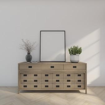 Biurko z drewna z ramą na zdjęcia i drzewkiem. renderowanie 3d