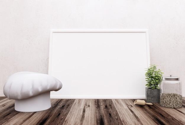 Biurko z pustym plakatem, materiałami eksploatacyjnymi i kopią.