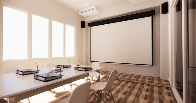 Biuro biznesowe - piękna sala konferencyjna i stół konferencyjny, nowoczesny styl. renderowanie 3d