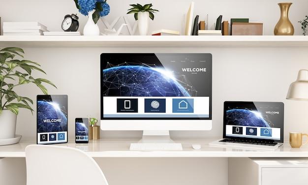 Biuro domowe skonfigurowane z responsywnymi urządzeniami renderującymi 3d