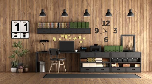 Biuro domowe w stylu rustykalnym