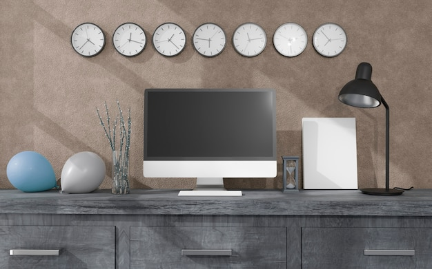 Biuro domowe z komputerem stacjonarnym, balonami i zegarami ściennymi