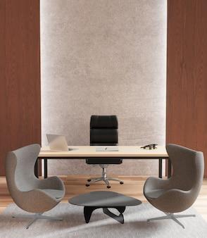 Biuro vip, pokój kierownika, rendering 3d